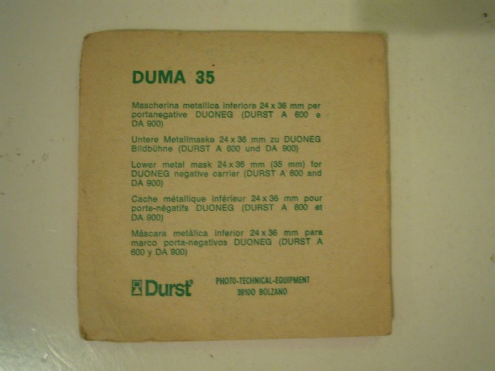 DURST DUMA 35 LOWER METAL MASK 24X36MM FOR DUONEG NEG CARRIER